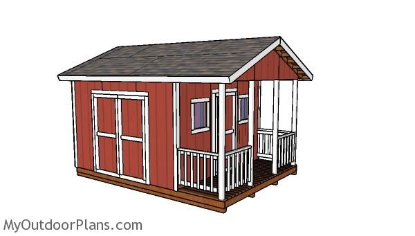 12x12 Gable Shed With Porch Plans Myoutdoorplans Free Woodworking Plans And Projects Diy Shed Wooden Pl Shed With Porch Small Shed Plans Shed House Plans