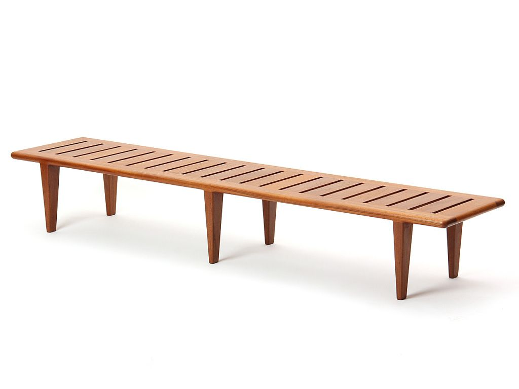 Solid Teak Slatted Bench By Hans J Wegner Bench Seating Teak Bench