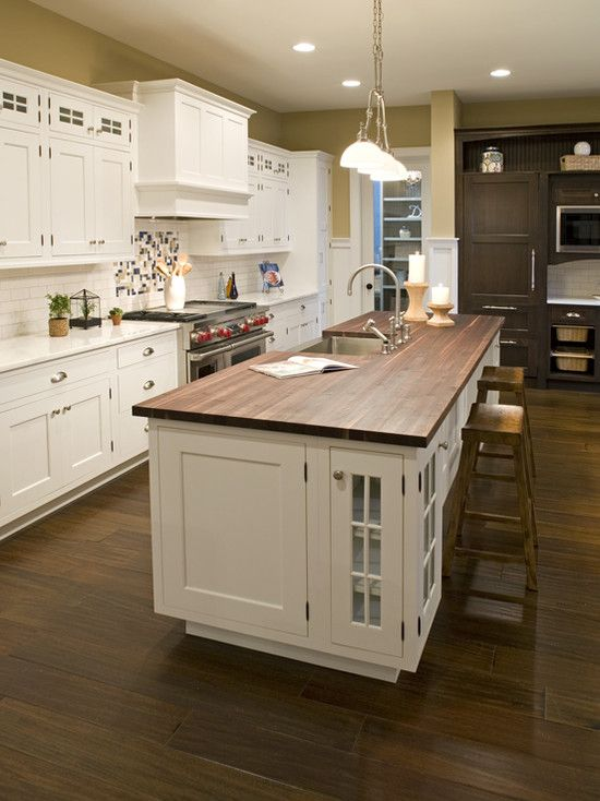 White Kitchen With Stained Butcher Block Island Design Pictures