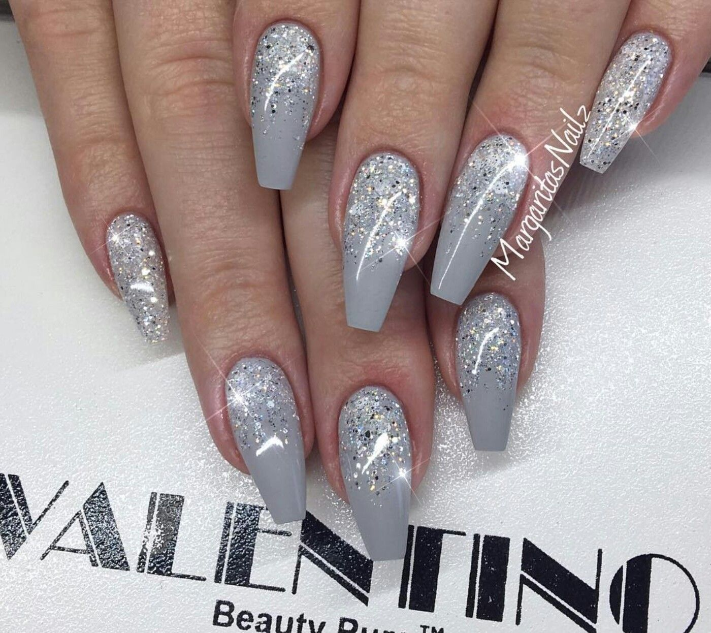Christmas Acrylic Nails Grey: Ombre Nails Glitter, Coffin