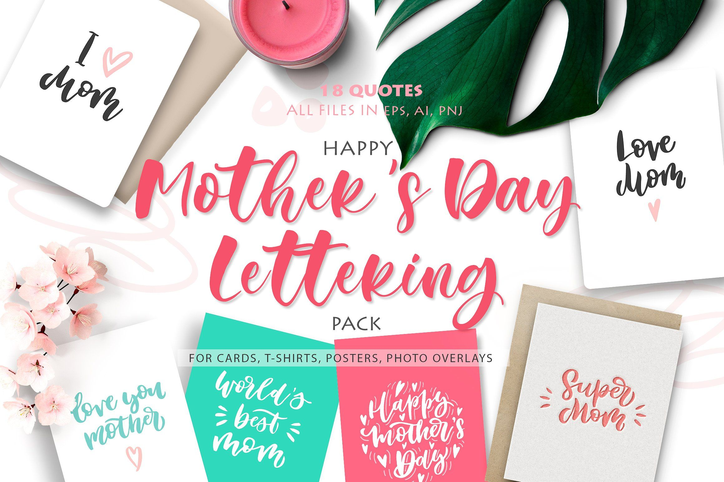 Happy Mothers Day Lettering Pack Greeting Card Template Hand