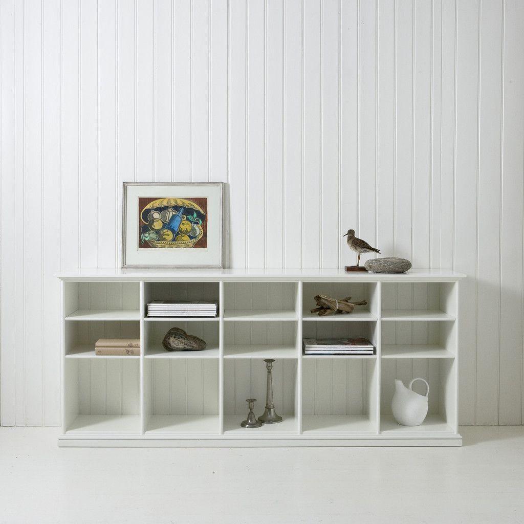 Oliver Furniture, Flaches Regal mit 10 Fächern, weiss  Regal