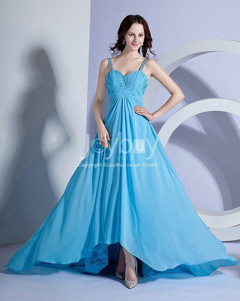 Asym Handmade Beading Straps Empire Blue Bridesmaid Dress with ...