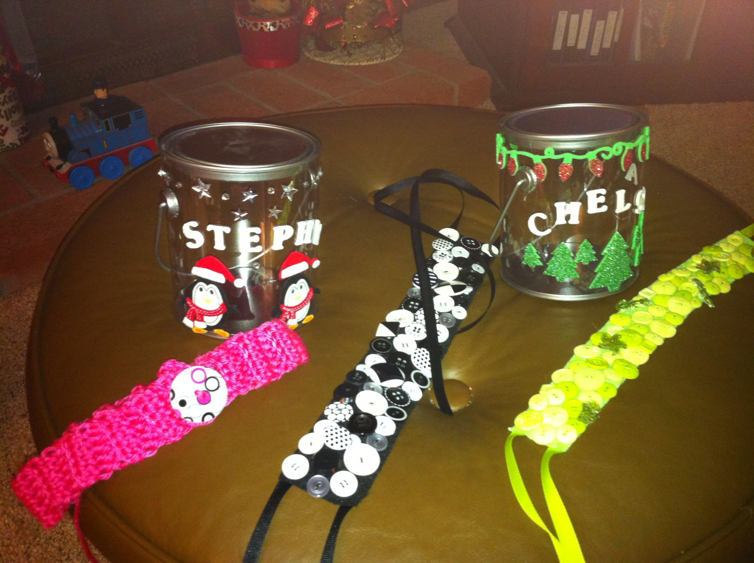 Finished the goody buckets and 3 out of 4 headbands.