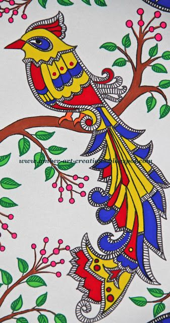 Amber art creations madhubani painting birds in love for Simple paintings to draw