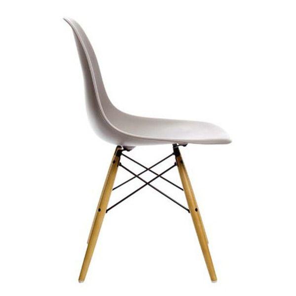 Vitra   Eames Plastic Side Chair DSW, Ahorn Gelblich / Mauve Grau,  Filzgleiter Der