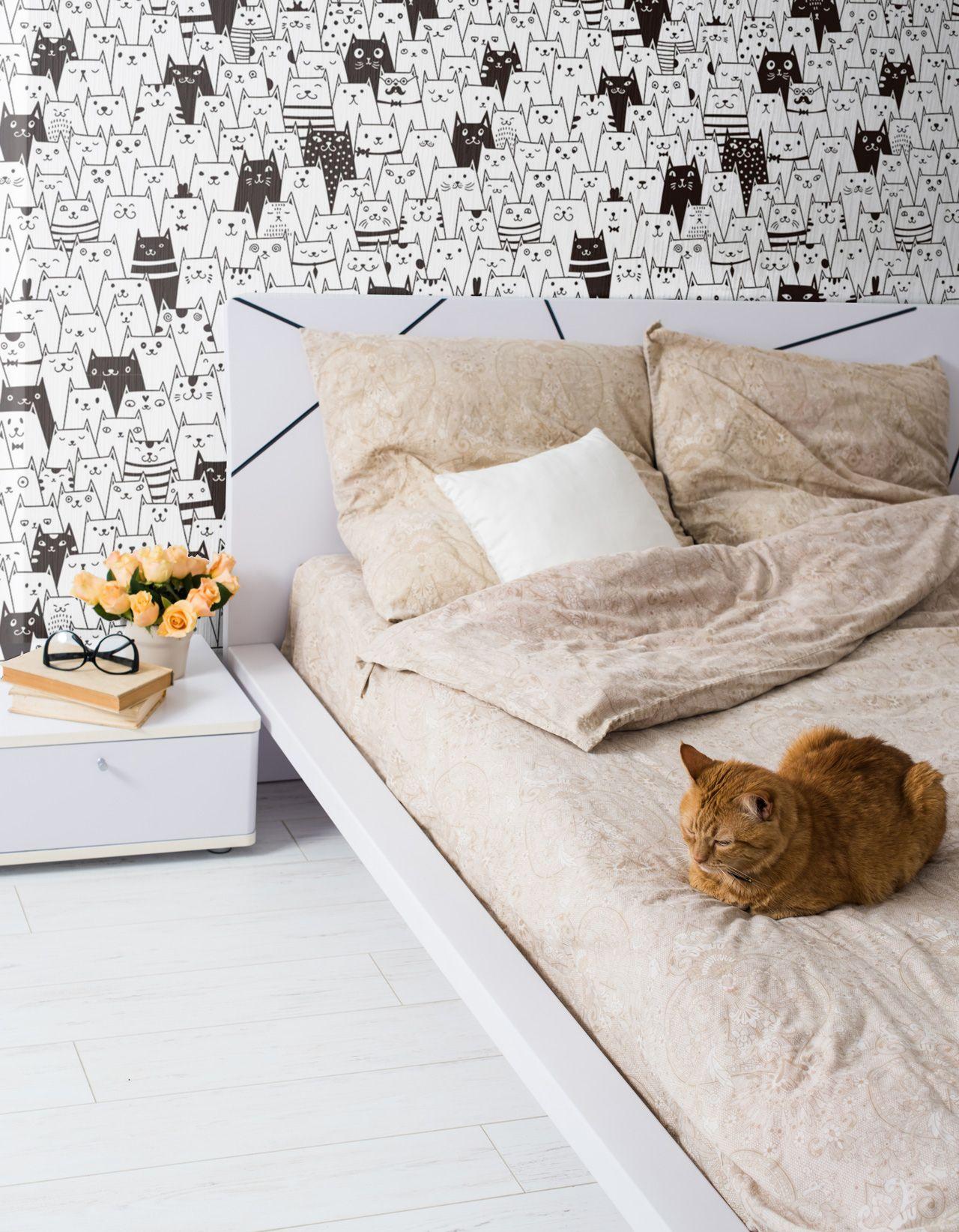 Black And White Geometric Animal Fabric Removable Wallpaper 6188 Removable Wallpaper Removable Wallpaper Bedroom Geometric Animals