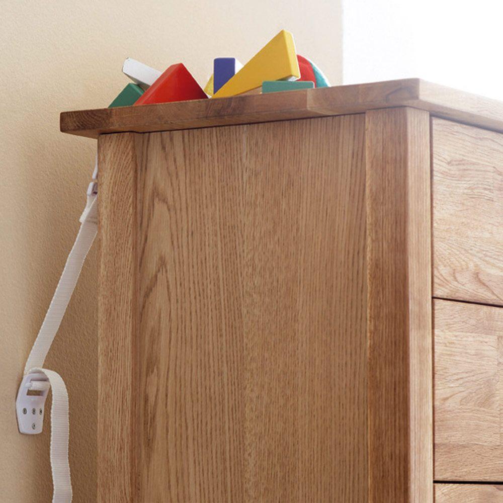 Antitip safety straps furniture child safety kids wood