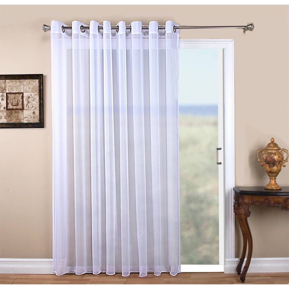 Tergaline Semi Sheer Grommet Top 108 In Extra Wide Panel With Custom Weighted Corded Bottom Hem And Pull Wand Curtains Sliding Glass Door Patio Panel