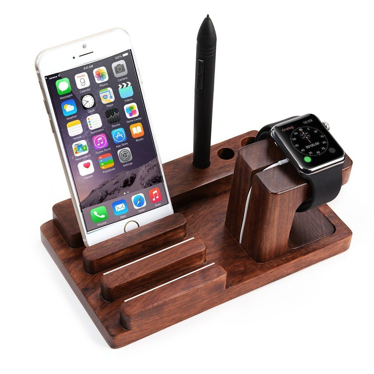 Wooden Charging Dock Station Charger Holder Stand For Le Watch Iwatch Iphone Ebay