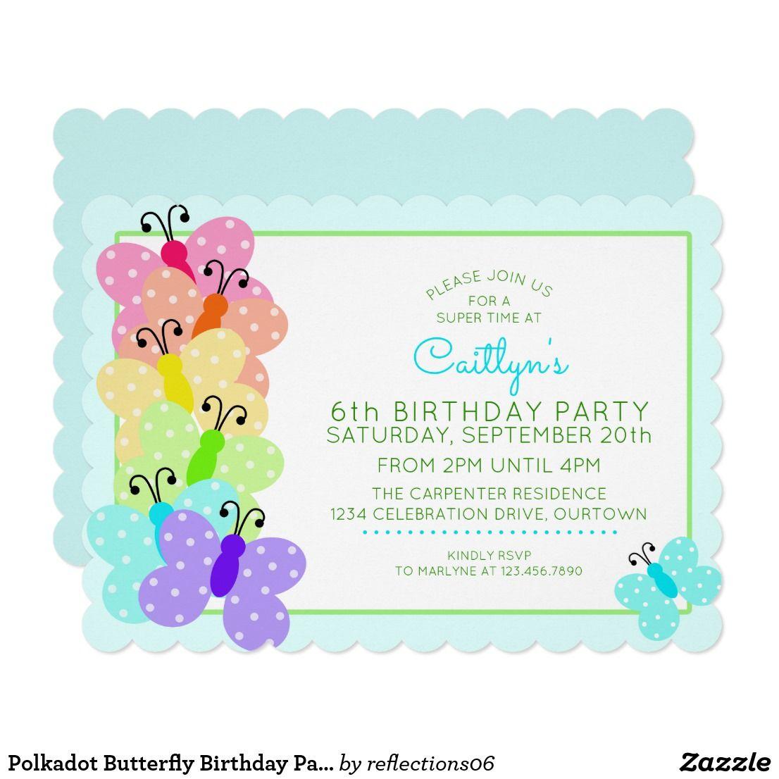 Polkadot Butterfly Birthday Party Invitation   Butterfly birthday ...