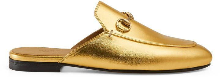 Gucci PRINCETOWN METALLIC LEATHER SLIPPER | My GF's Shoes | Pinterest |  Leather slippers, Metallic leather and Gucci