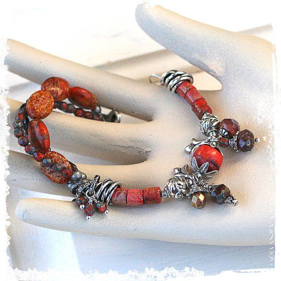 Multi strand beaded bracelet  Orange by rocksandpaperswans on Etsy