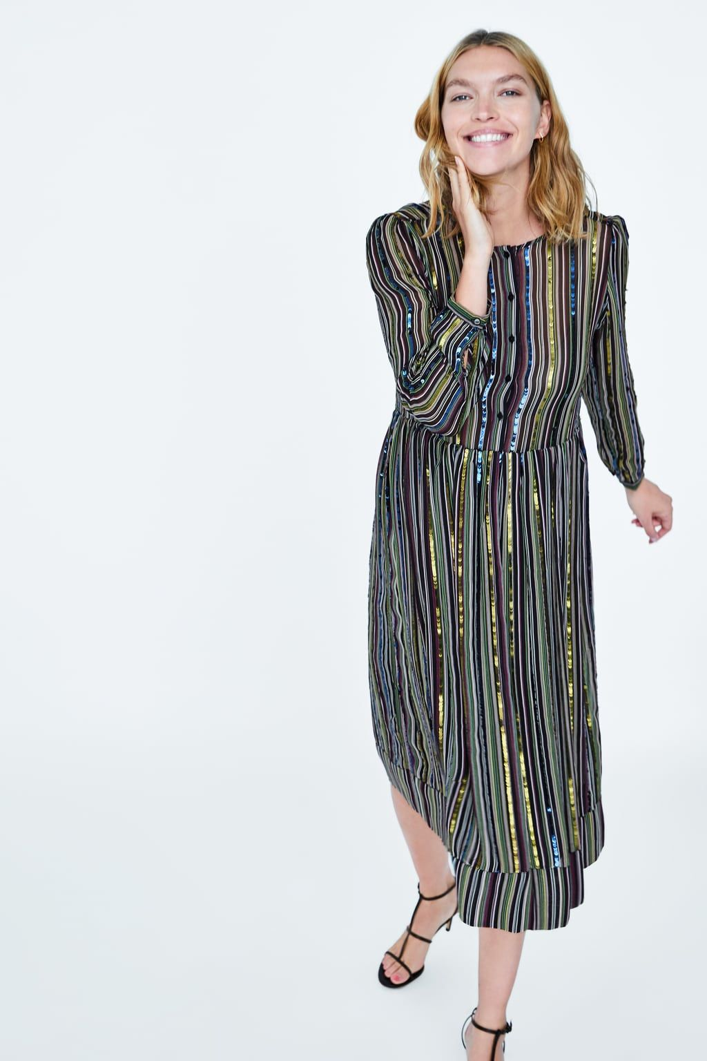 1e626c3ae8bd open toe november Striped Sequin Dresses, Maternity Fashion, Zara, Sequins,  Shirt Dress