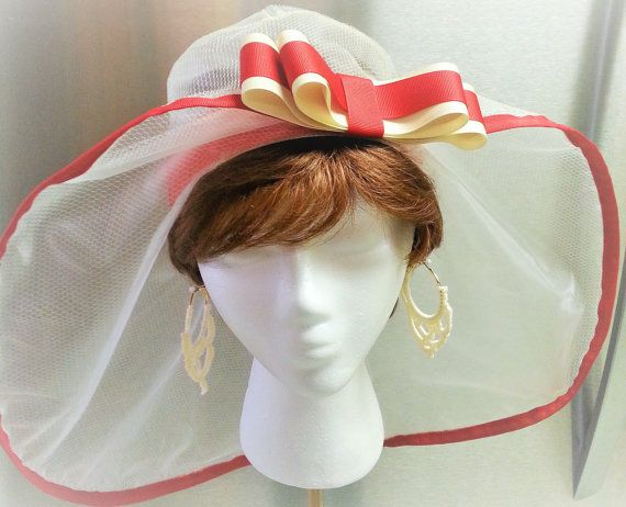 Wide Brim Organza Hat Church Wedding Quinceanera by SewDangKewl