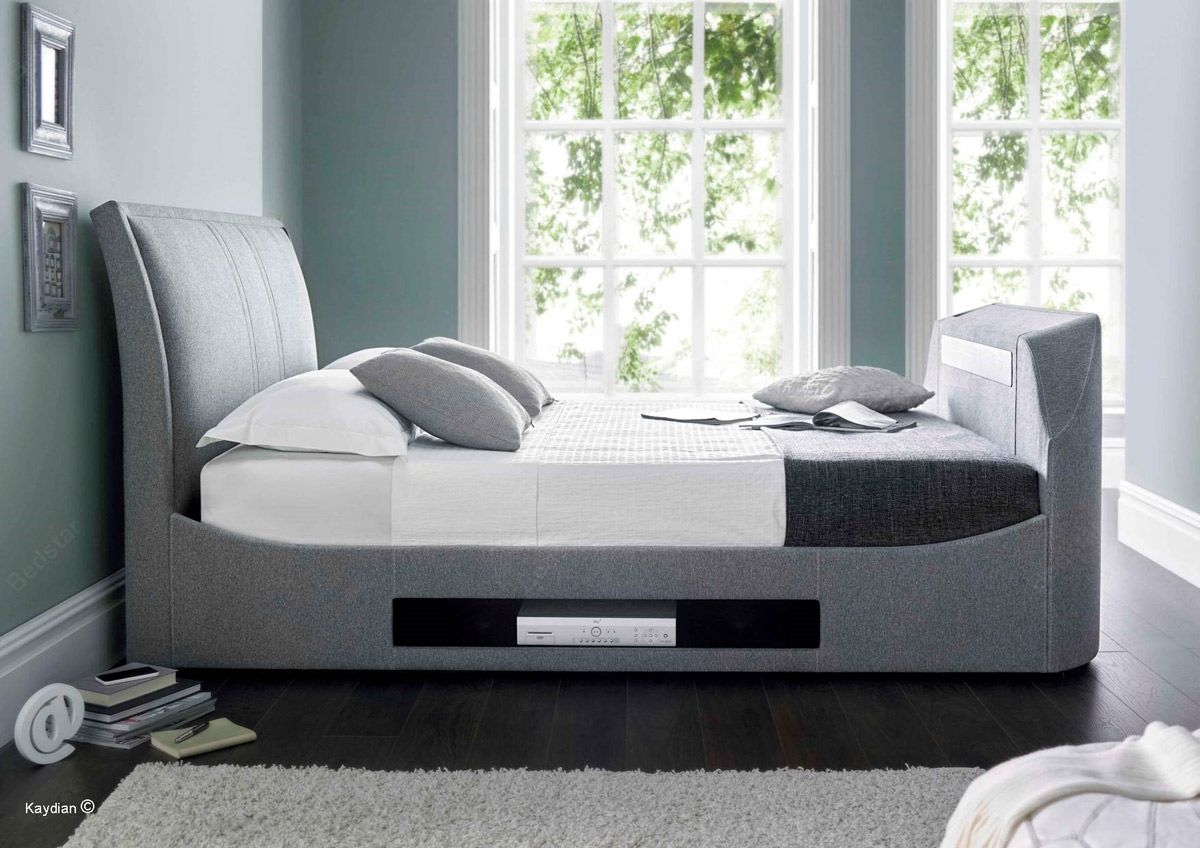 Super king size bed with tv - Kaydian Design Maximus 5ft Kingsize Tv Bed Smoke Grey Bedroom Kaydian Design Maximus 5ft Kingsize Tv
