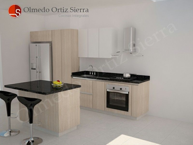 Diseño de cocina pequeña con isla y alacena. | Diseño de Cocinas ...