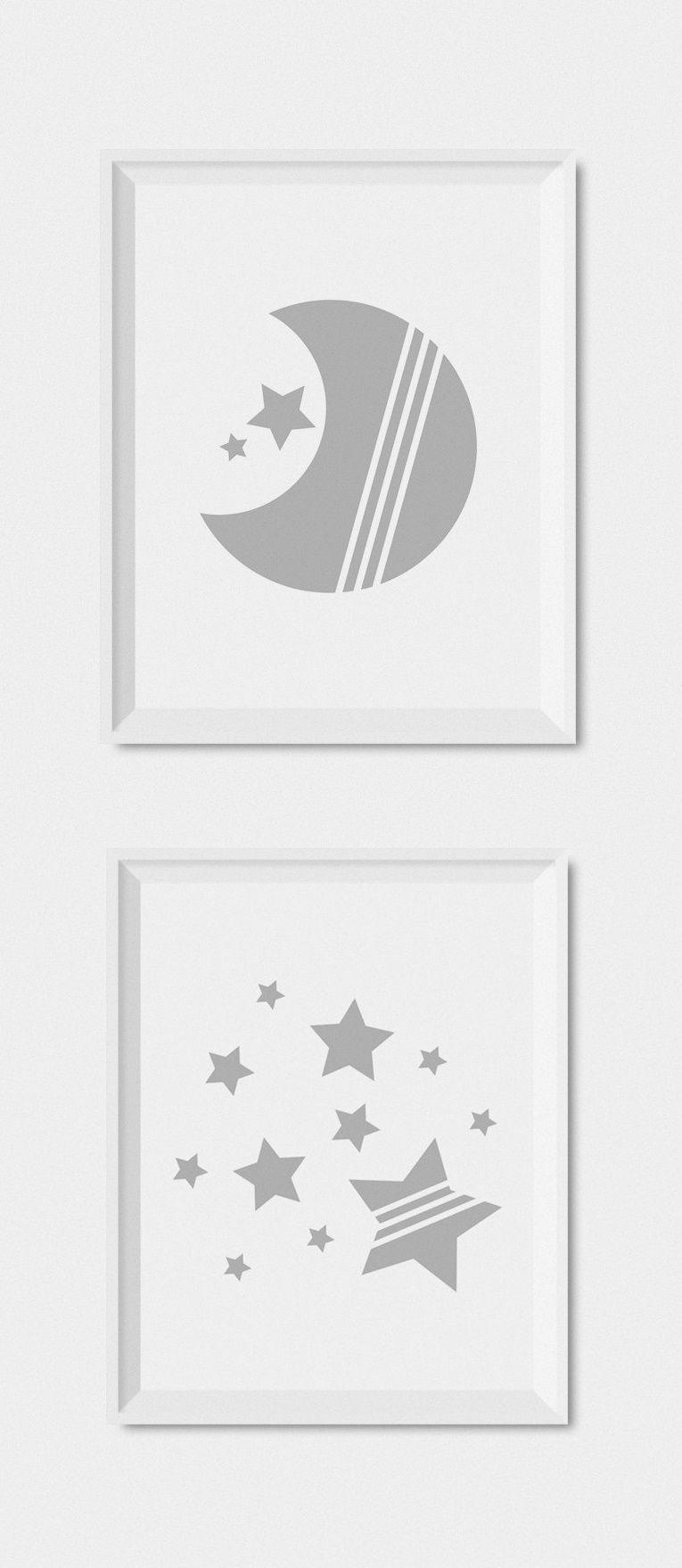 Modern Gender Neutral Gray Nursery Decor DIY Nursery Printables Moon And Stars Nursery Wall  sc 1 st  Pinterest & Moon And Stars Nursery Prints Set Of Prints For Nursery Baby Wall ...