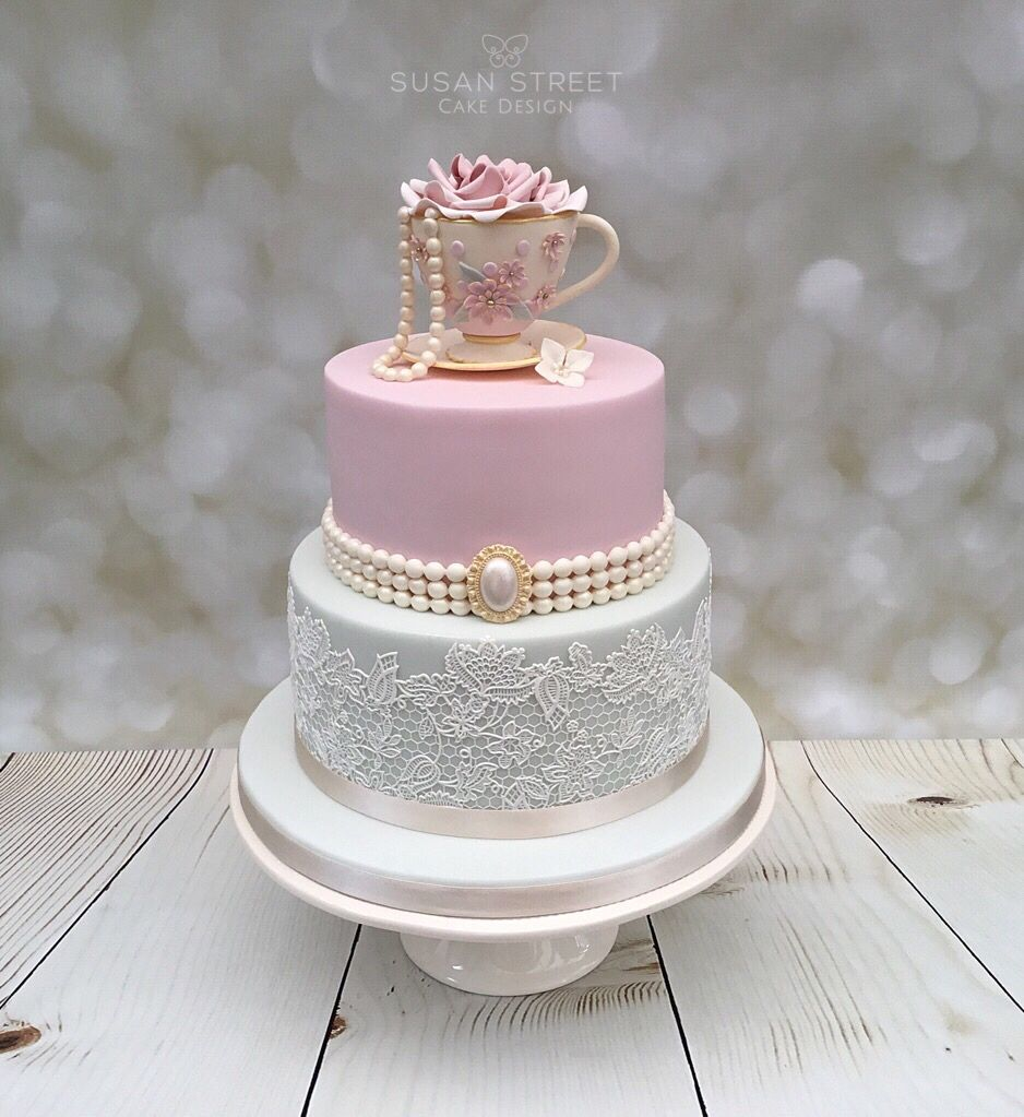 Vintage Style two tier birthday cake with handmade teacup and saucer