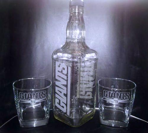 7b4c1c783 Etched NEW YORK GIANTS Jack Daniels Bottle Set