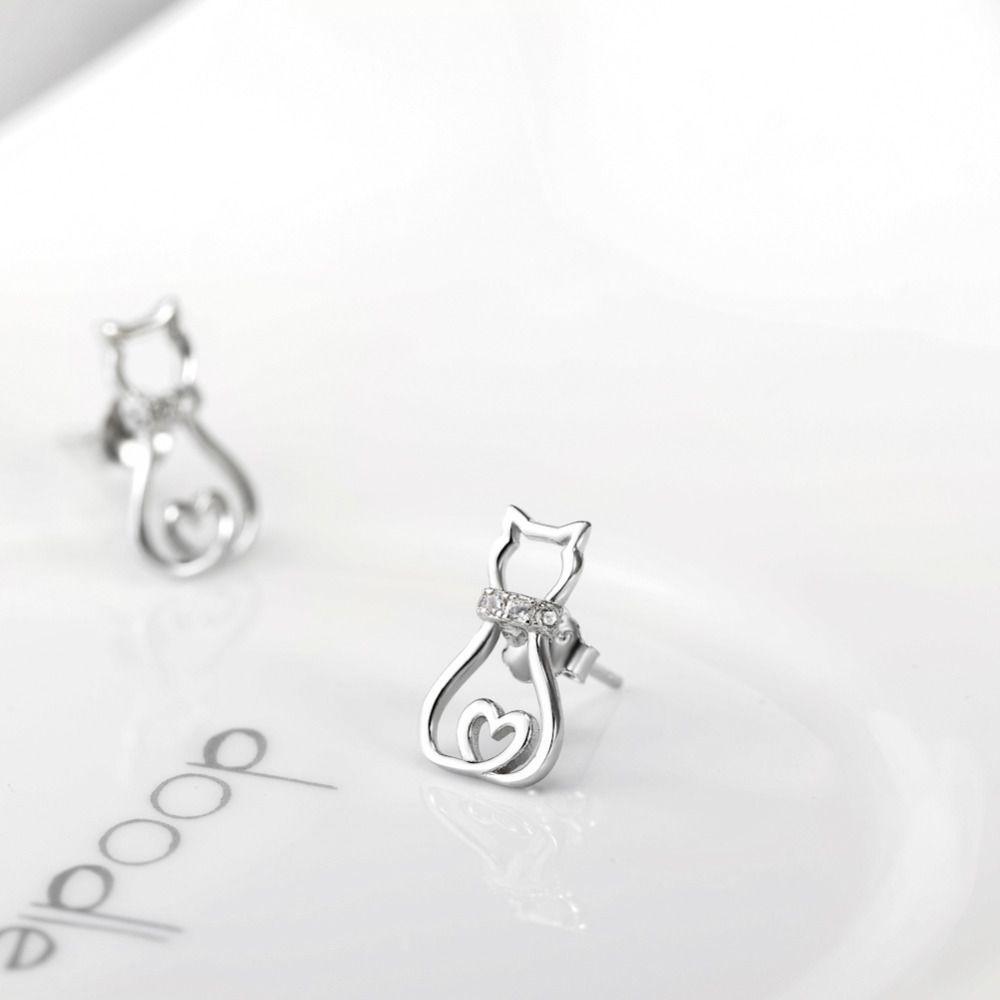 Hot Sale 925 Sterling Silver Cat Earrings Crystal Stud Earrings Fashion  Jewelry Brincos For Women