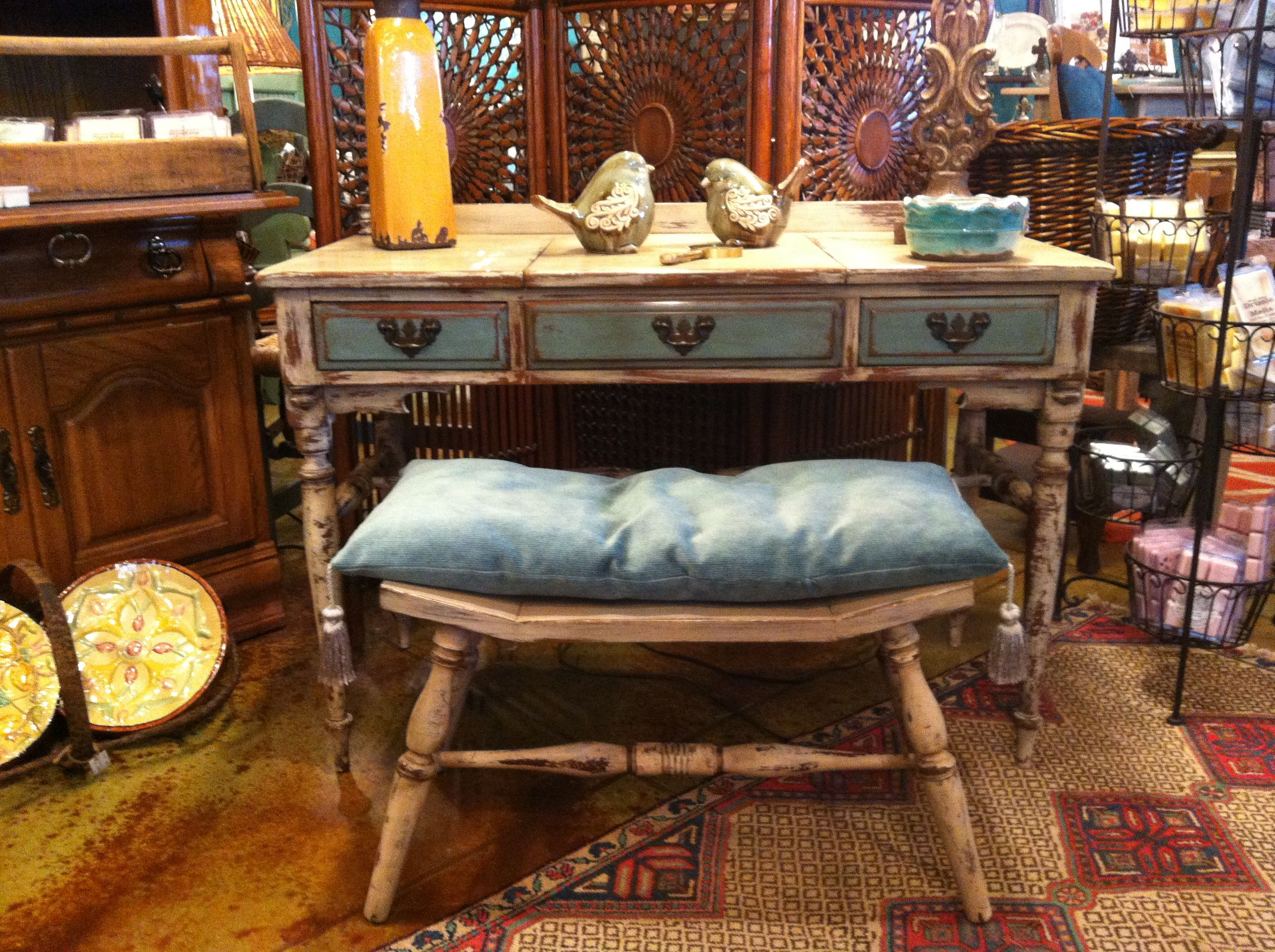 Wild Cherry solid wood vanity and stool