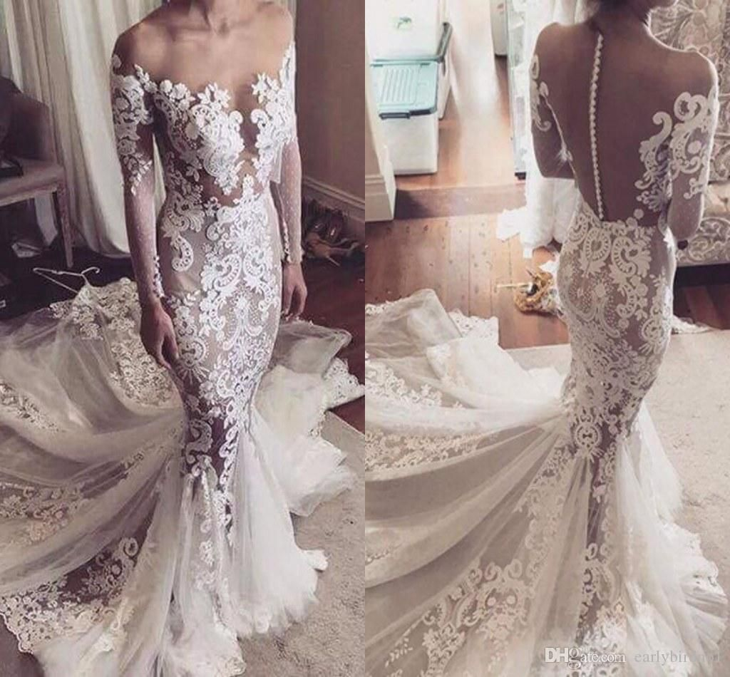 Mermaid wedding dresses with sleeves  Cool  New Stunning Lace Mermaid Wedding Dress Bridal Gown Custom
