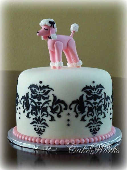 Groovy Poodle Cake Pink Poodle Cake Fondant Funny Birthday Cards Online Aeocydamsfinfo