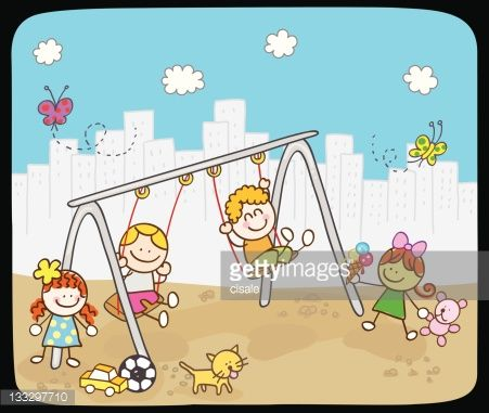 Vector Art : Children playing with swing in summer,spring cartoon illustration