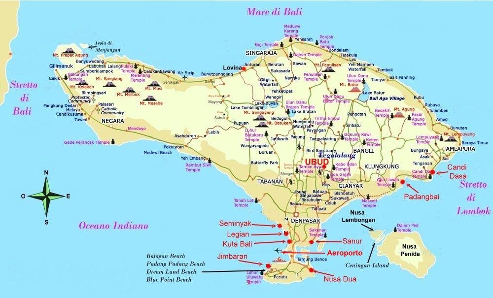 Cartina Bali Indonesia.Pin Su Bali