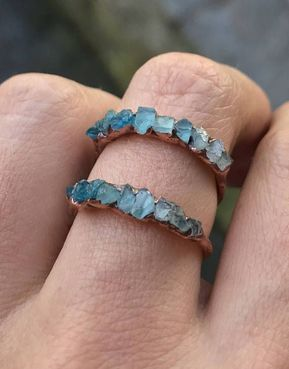 Photo of Gemstone stacking ring / Aquamarine ring / Apatite ring / Blue crystal ring / raw gemstone / March birthstone ring / shaded / Gift for wife