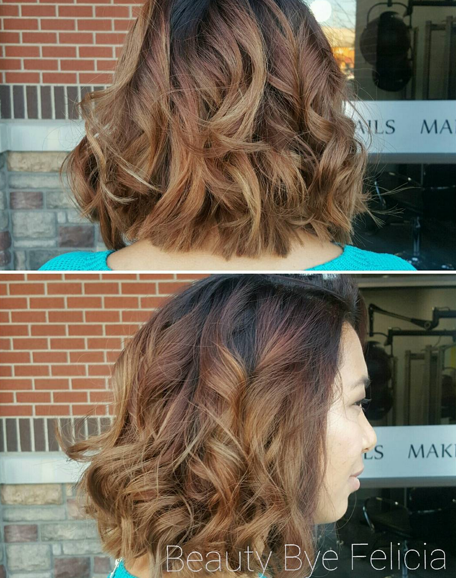 Short hair with light ombre at Oliver Finley Academy of Cosmetology