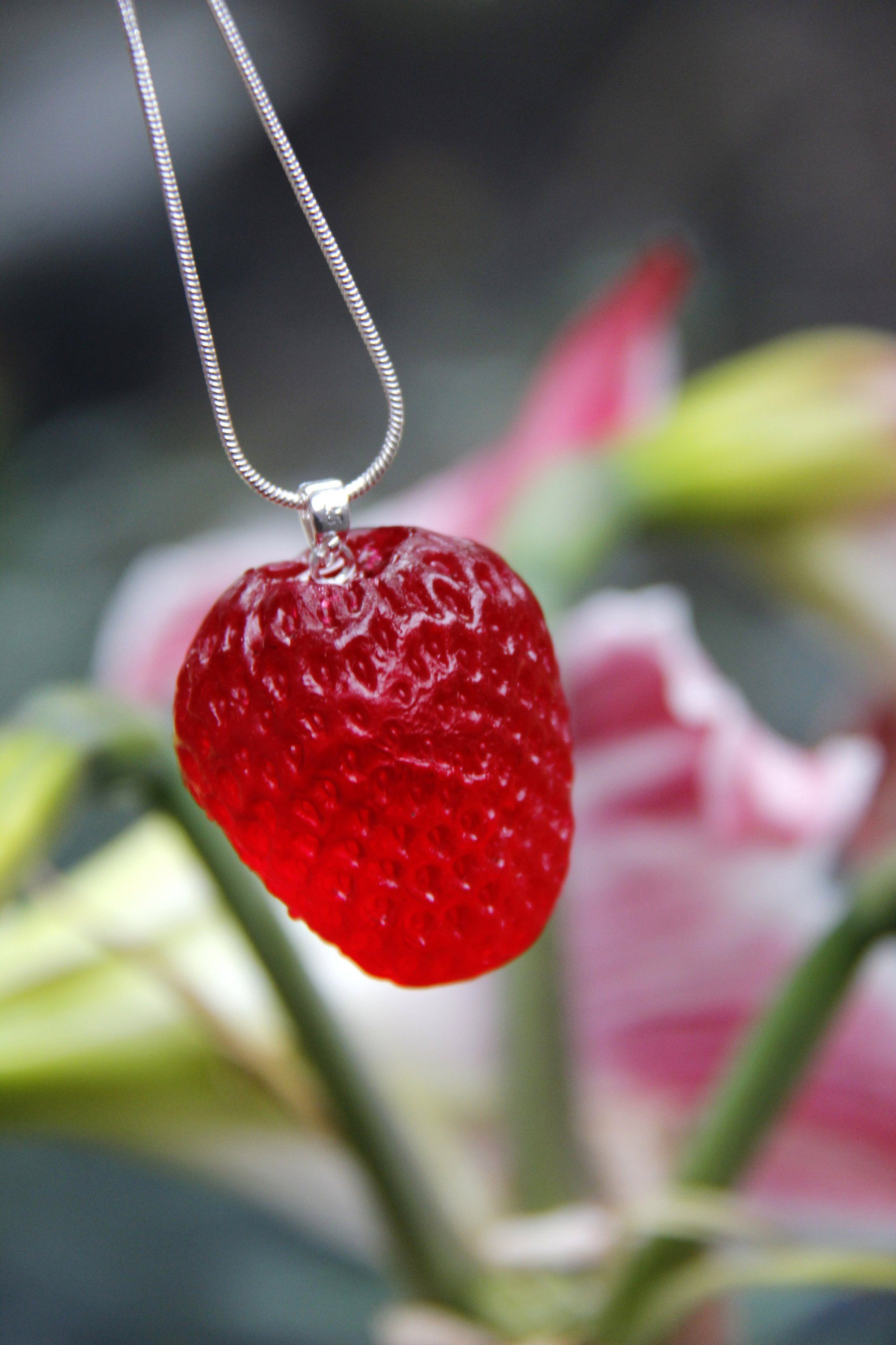 Crystal resin strawberry necklace strawberry jewelry fruit