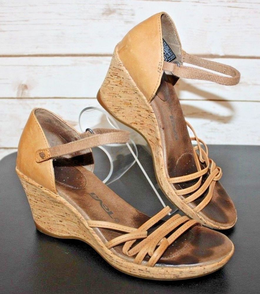 6326609a8cac99 TEVA Size 6 Ventura Cork Wedge Heel Sandals Light brown Leather Womens Cute!   Teva  PlatformsWedges
