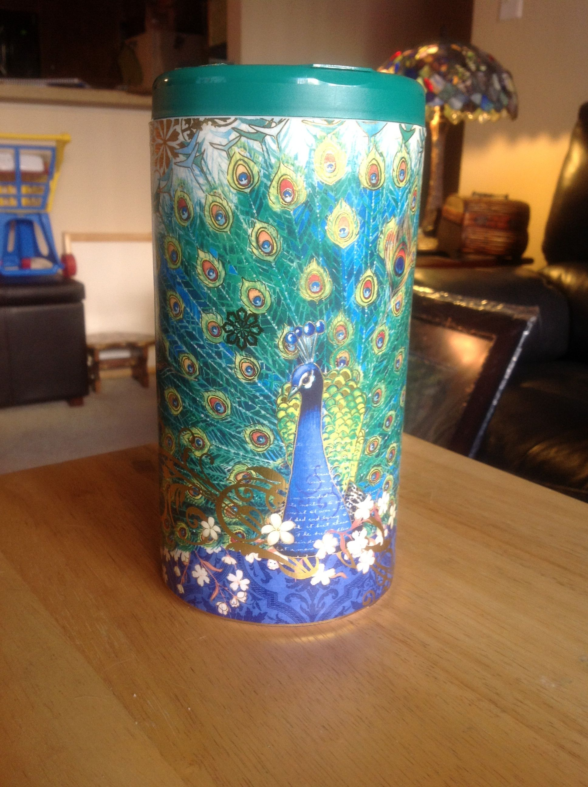 This is a Lysol wipes container that I decorated with a