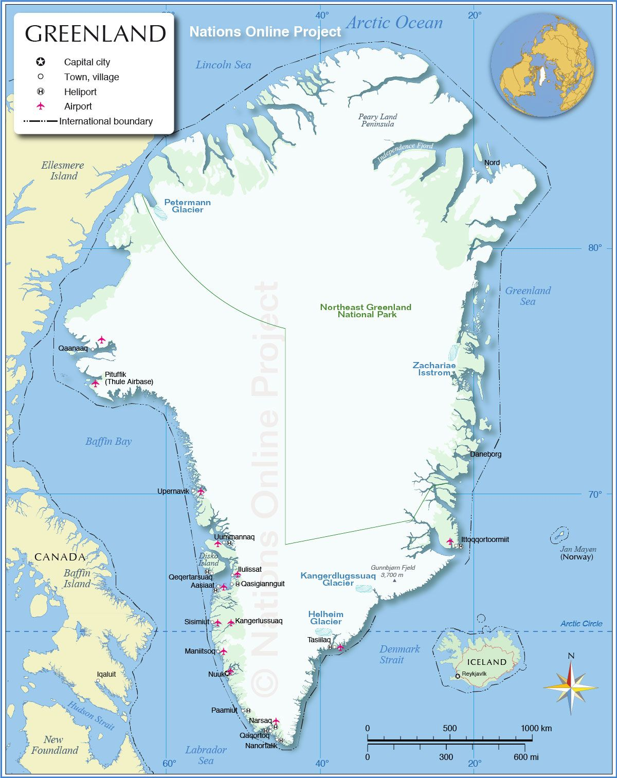 Map Of Greenland Map of Greenland   The world's largest island and the country with  Map Of Greenland