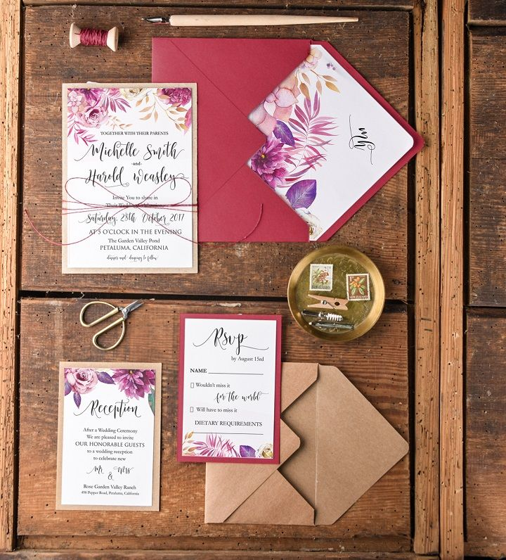 Burgundy Wedding Invitation Ideas | fabmood.com #weddinginvitation #autumnwedding #invitations