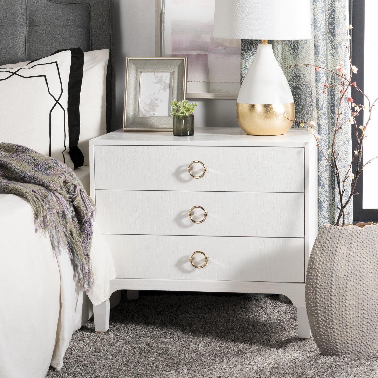 Gerald 3 Drawer Nightstand White nightstand, 3 drawer