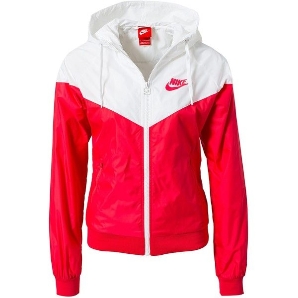 Nike Windrunner ($92) ❤ liked on Polyvore featuring outerwear, jackets, tops, nike, red, coats & jackets, sports fashion, womens-fashion, pocket jacket and red zipper jacket