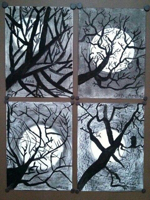 "2nd Grade ""Tree Silhouette"" paintings. Elementary Art. Tempera over charcoal. Art teacher Jennifer Lipsey Edwards"