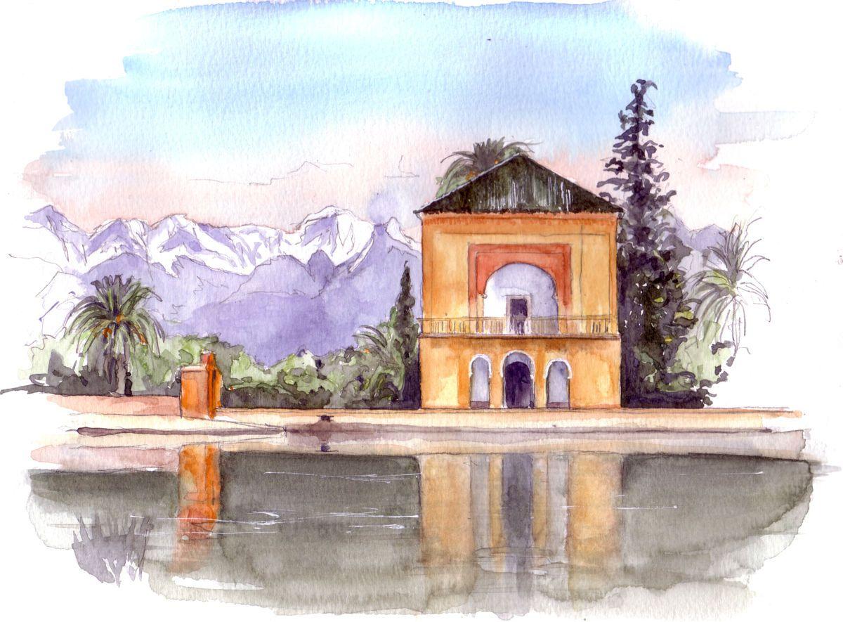 La Menara Marrakech Maroc Peinture 30x20 Cm Par Catherine