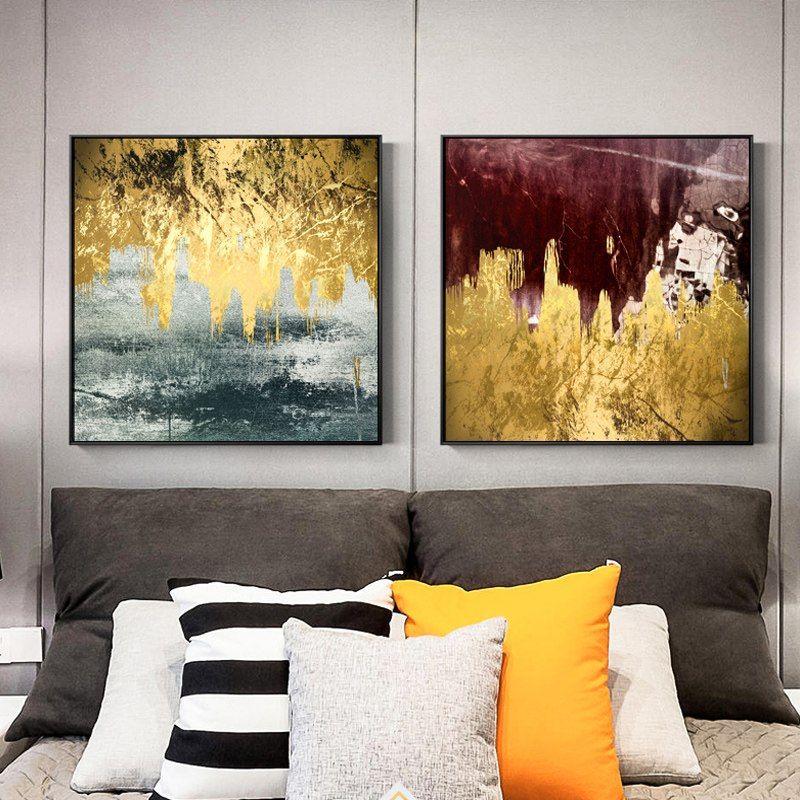 Tanie Złoty Flowing Farby Płótnie Malarstwo Abstrakcyjne