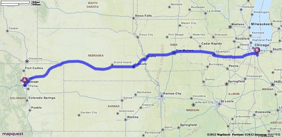 Driving Directions from Denver, Colorado to Merrillville, Indiana ...