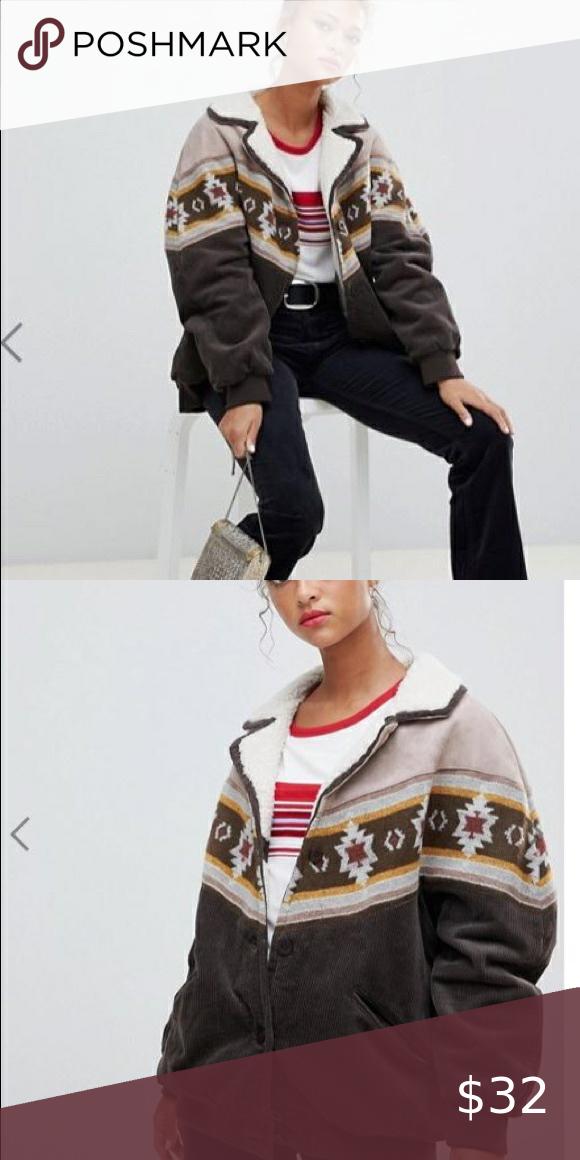 Pull Bear Fleece Brown Cord Jacket New Jackets 70s Fashion Fleece