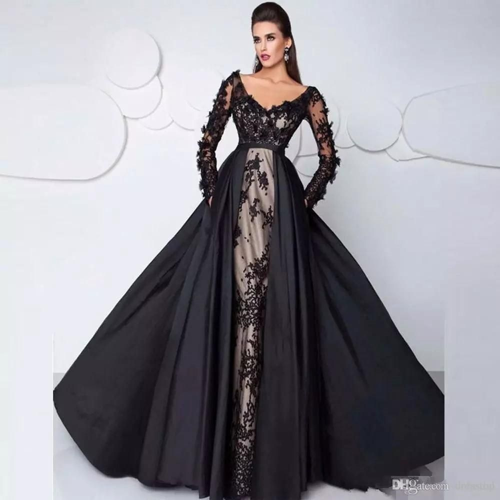 38df0b6132670 2018 Black Long Sleeve Lace Evening Gowns With Detachable Train Plus Size  Off Shoulder Dubai Prom Dresses V Neck Sexy Party Dress