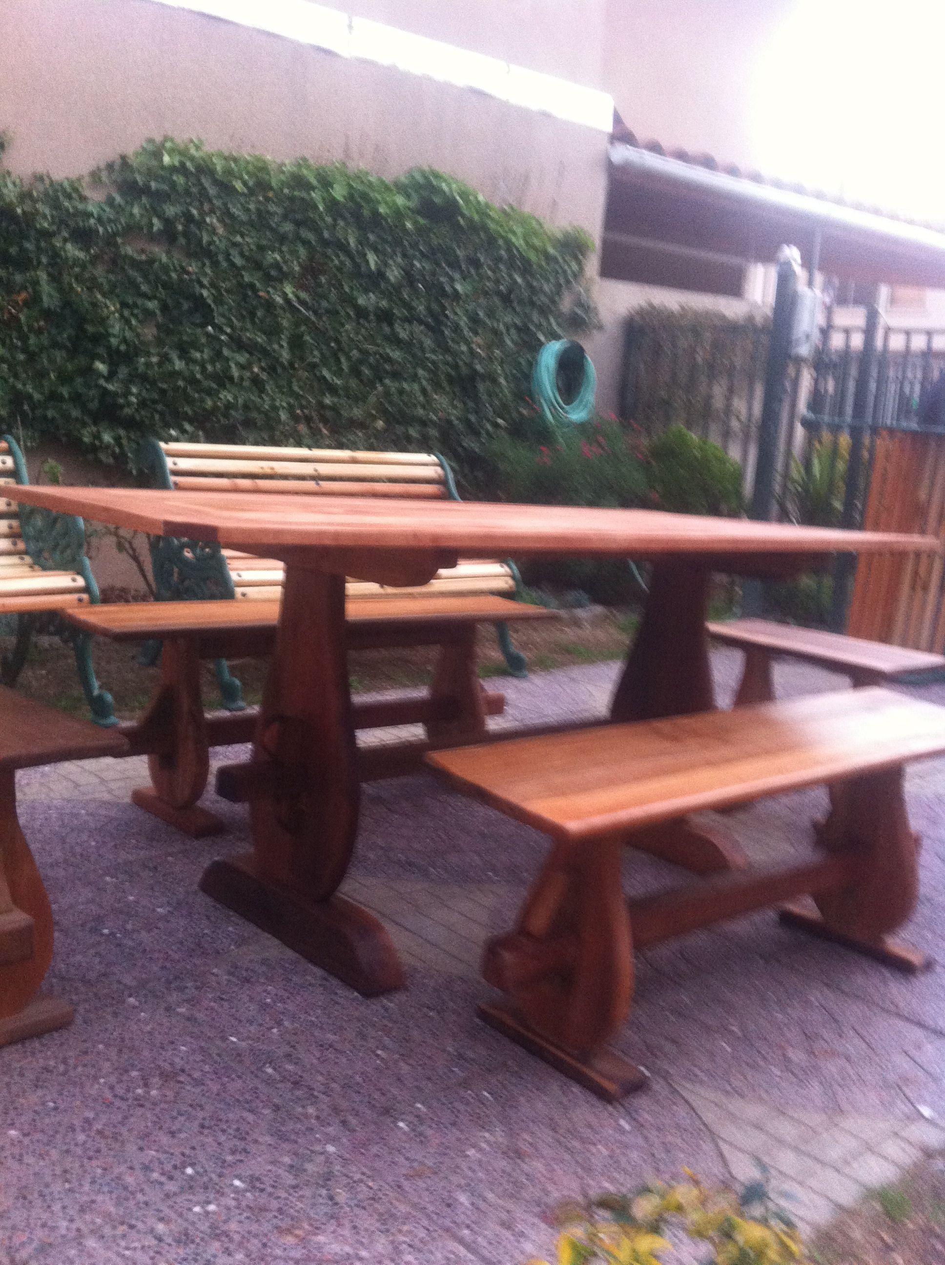 Mesa comedor terraza hecho en madera de roble for Juego comedor terraza madera