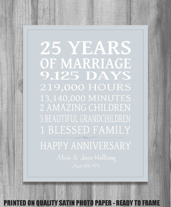 Silver 25th Anniversary Gift Personalized Our Life Story Stats Marriage Subway Sign Print Unique Custom Colors