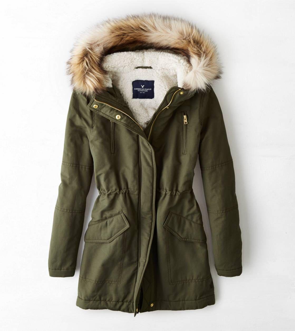 Green Parka Coat With Fur Hood