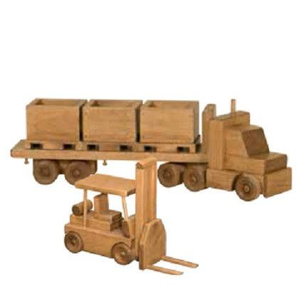 Tractor Trailer Fork Lift Set Amish Handmade Wood Toy