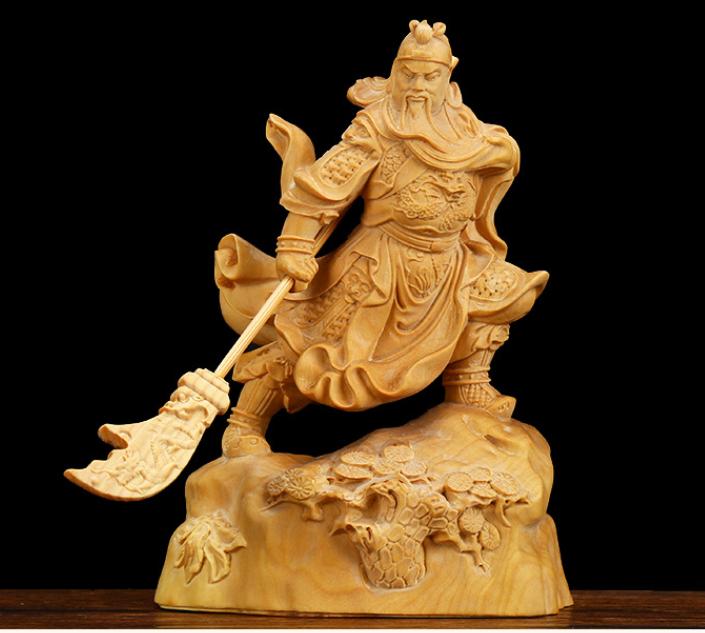 的 chinese folk art yueqing boxwood carving figure general